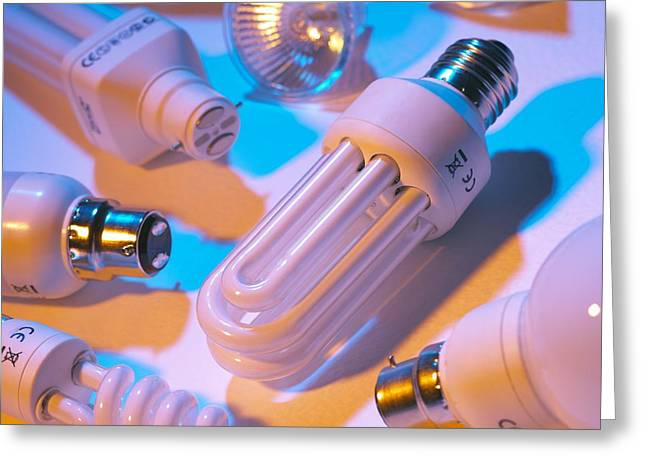 Efficiency Greeting Cards - Low Energy Light Bulbs Greeting Card by Mark Sykes
