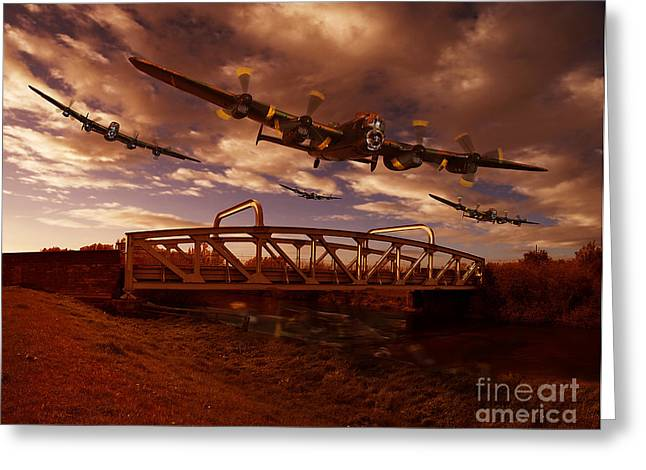 Digital Imaging Greeting Cards - Low Flying over Rawcliffe Bridge Greeting Card by Nigel Hatton