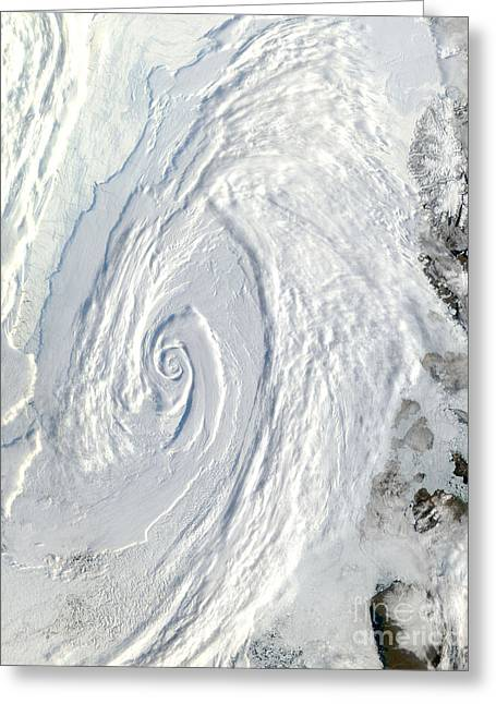 21st Greeting Cards - Low Pressure System Over The Arctic Greeting Card by NASA / Science Source