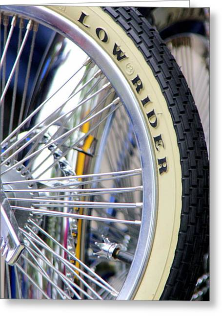 Lowrider Greeting Cards - Low Rider and Silver Spokes Greeting Card by Tam Graff