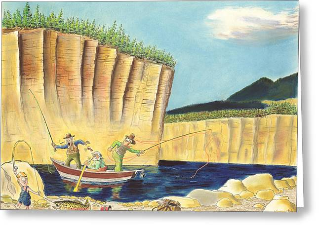 Trout Fishing Pastels Greeting Cards - Low Tech vs. High Dollar Greeting Card by Tim Koziol