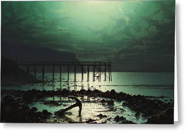 Moonlit Night Greeting Cards - Low Tide by Moonlight Greeting Card by WHJ Boot
