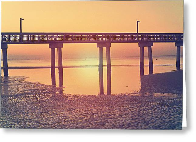 Florida Bridge Greeting Cards - Low Tide Cool Vintage Greeting Card by Chris Andruskiewicz