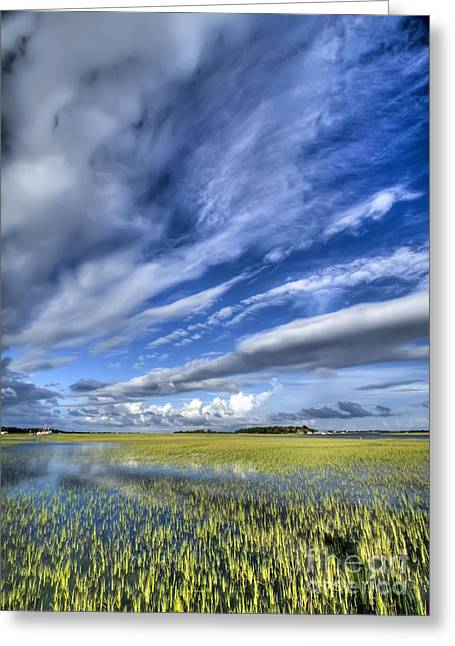 Flood Digital Art Greeting Cards - Lowcountry Flood Tide and Clouds Greeting Card by Dustin K Ryan