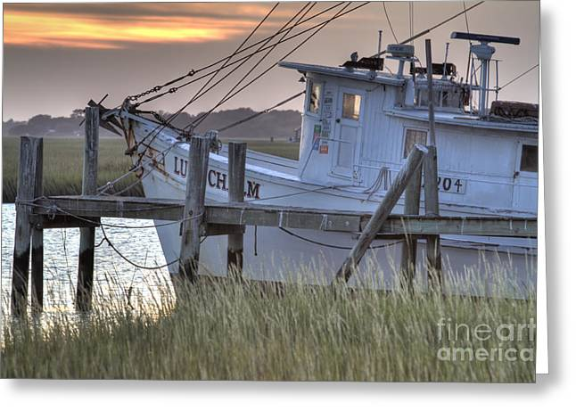 Fine Art Photography Digital Art Greeting Cards - Lowcountry Shrimp Boat Sunset Greeting Card by Dustin K Ryan