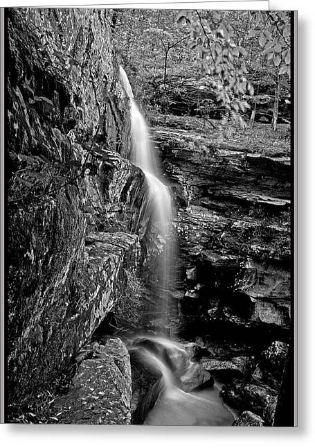 Southern Illinois Greeting Cards - Lower Burden Falls in B  W Greeting Card by Donna Caplinger