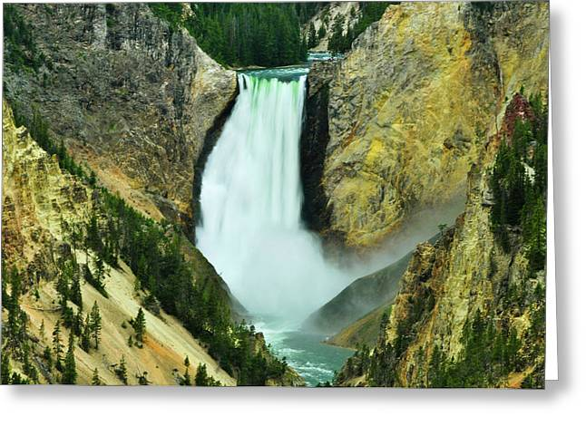 Grand Canyon Of The Yellowstone Greeting Cards - Lower Falls no border or caption Greeting Card by Greg Norrell