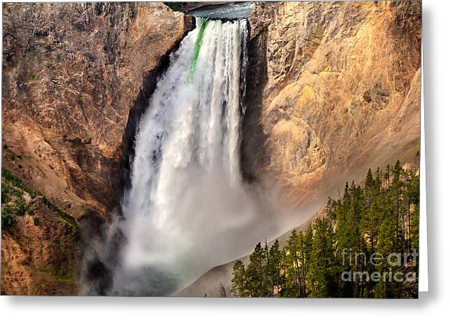 Haybale Greeting Cards - Lower Falls of Yellowstone Greeting Card by Robert Bales