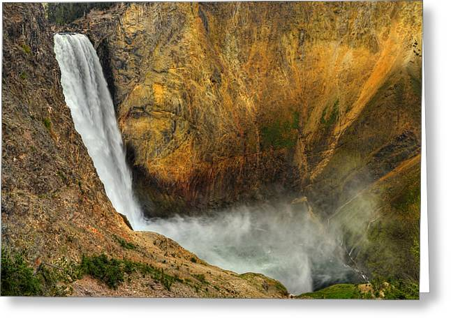 Grand Canyon Of The Yellowstone Greeting Cards - Lower Falls Yellowstone National Park Greeting Card by Ken Smith