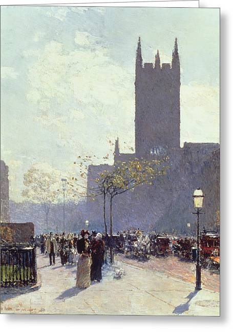 St. Patrick Greeting Cards - Lower Fifth Avenue Greeting Card by Childe Hassam