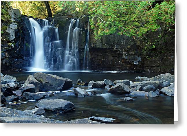 Canoe Waterfall Greeting Cards - Lower Johnson Falls Greeting Card by Larry Ricker