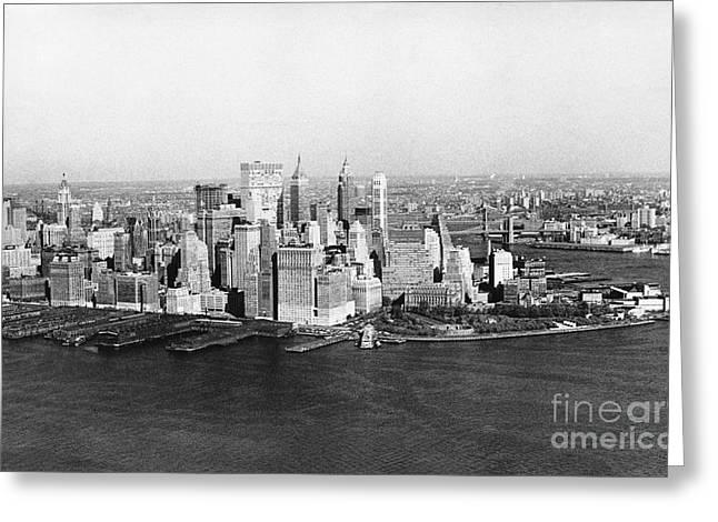 Historic City Pier Greeting Cards - Lower Manhattan, 1968 Greeting Card by Bernard Wolff