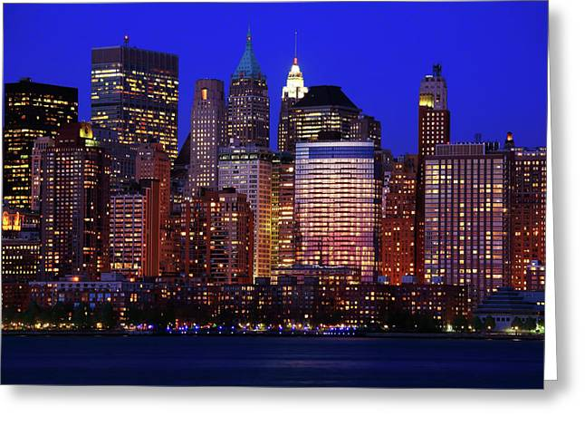 City Lights Greeting Cards - Lower Manhattan Greeting Card by Rick Berk