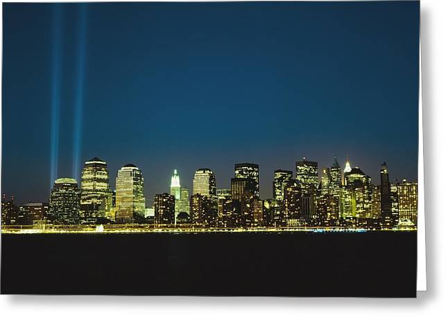 World Trade Centre Greeting Cards - Lower Manhattan Skyline And World Trade Greeting Card by Axiom Photographic