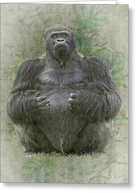 Angry Face Greeting Cards - Lowland silverback Gorilla Greeting Card by Rudy Umans