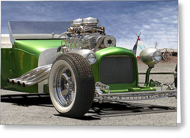 Lowrider Greeting Cards - Lowrider at Painted Desert 2 Greeting Card by Mike McGlothlen