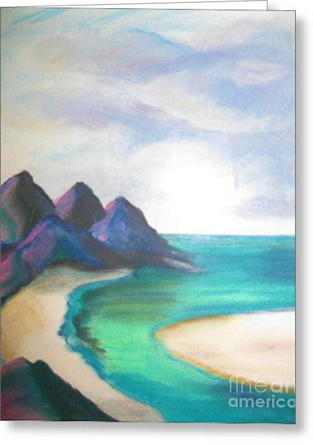 Cliffs Pastels Greeting Cards - Lowtide Carribean Pastel Greeting Card by Judy Via-Wolff