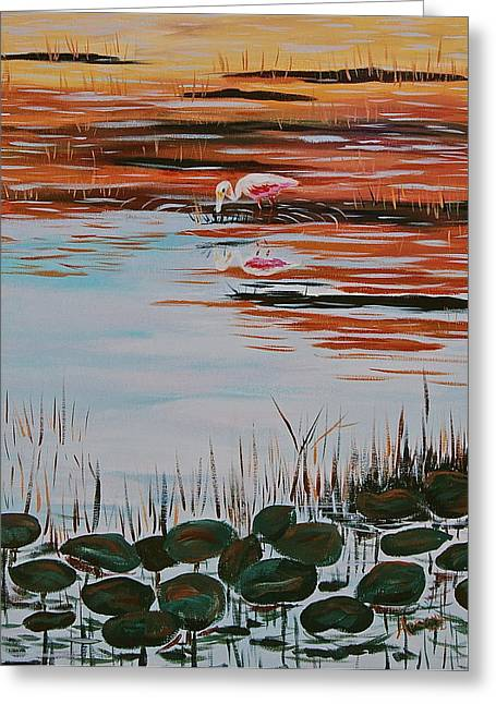 Rosette Paintings Greeting Cards - Loxahatchee Spoonbill Greeting Card by Adriane Pirro