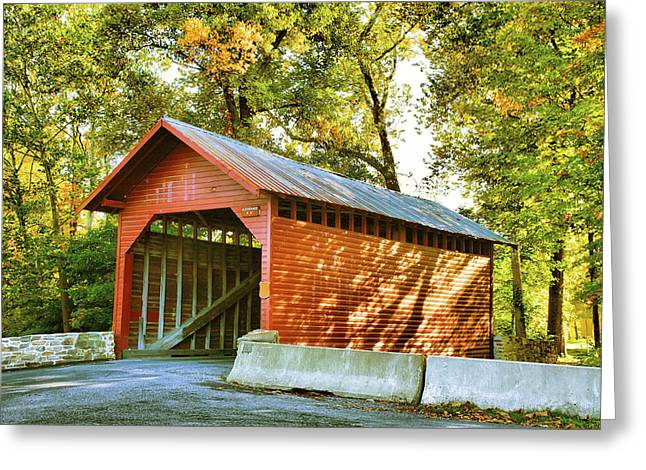 Covered Bridge Greeting Cards - Loys Station Bridge Greeting Card by Steven Ainsworth