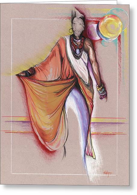 African American Drawings Greeting Cards - LPR Black Woman Greeting Card by Anthony Burks Sr