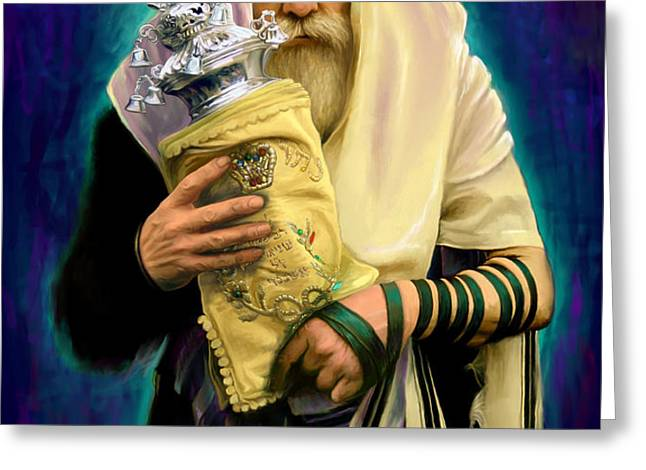 Lubavitcher Rebbe with torah Greeting Card by Sam Shacked