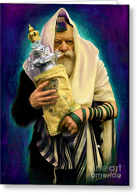 Jewish Greeting Cards - Lubavitcher Rebbe with torah Greeting Card by Sam Shacked