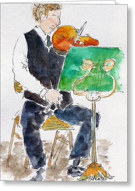 Quartet Paintings Greeting Cards - Lucas On First Violin Greeting Card by Pat Katz