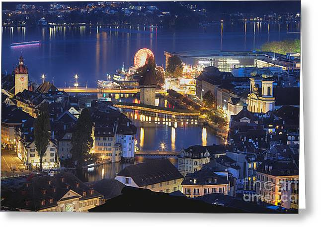 Reuss Greeting Cards - Lucerne at Night from Above Greeting Card by George Oze