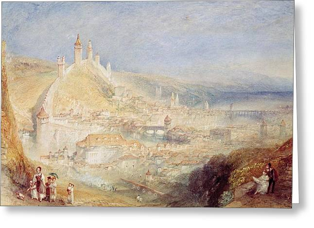 Switzerland Paintings Greeting Cards - Lucerne from the Walls Greeting Card by Joseph Mallord William Turner