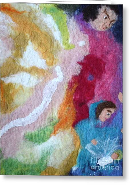 Christ Child Tapestries - Textiles Greeting Cards - Lucifer and Ahriman at the birth of Christ Greeting Card by Nicole Besack