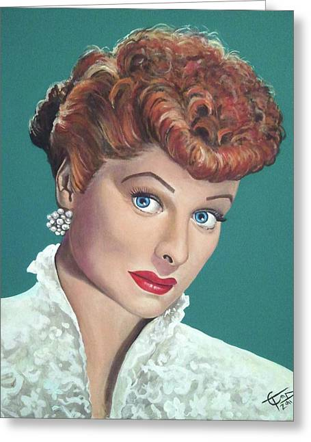 I Love Lucy Greeting Cards - Lucille Ball Greeting Card by Tom Carlton