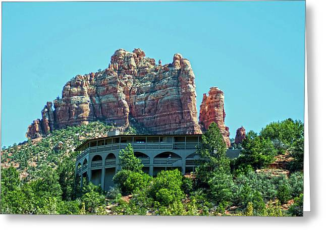 Lucille Greeting Cards - Lucille Balls former home overlooking downtown Sedona Arizona Greeting Card by Frank Feliciano