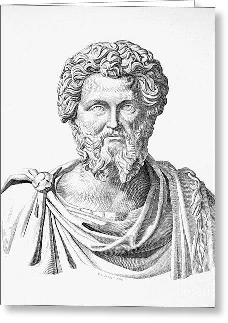 Statue Portrait Photographs Greeting Cards - Lucius Septimius Severus Greeting Card by Granger