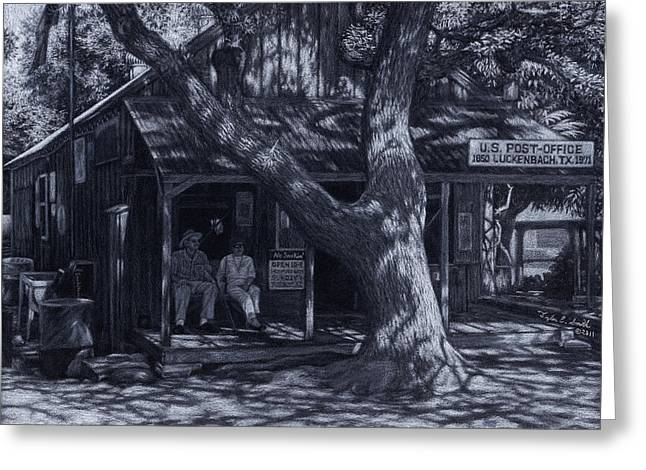 Black And White Photos Pastels Greeting Cards - Luckenbach Texas Greeting Card by Tyler Smith
