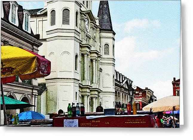 Lucky Dogs and St. Louis Cathedral Greeting Card by Kathleen K Parker