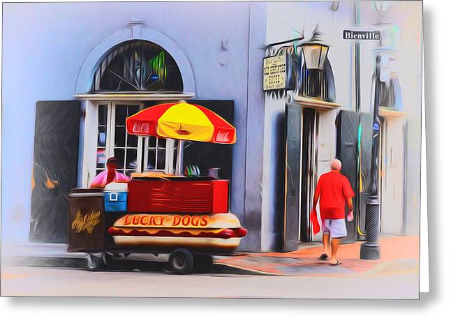 Lucky Dogs - Bourbon Street Greeting Card by Bill Cannon