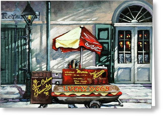 Lucky Dogs Greeting Card by Dianne Parks