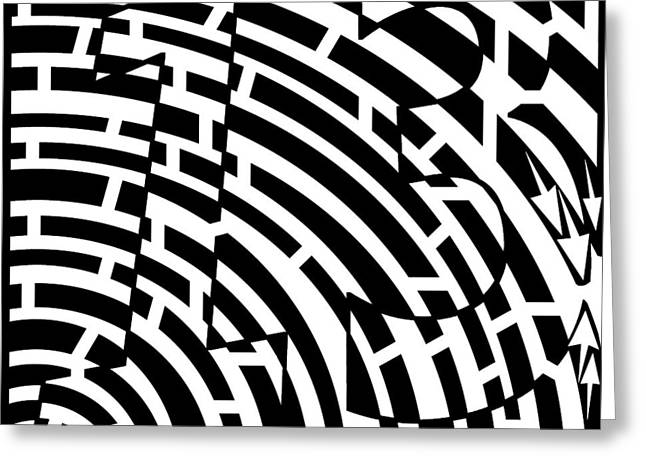 Maze Drawings Greeting Cards - Lucky Number 13 Maze Greeting Card by Yonatan Frimer Maze Artist