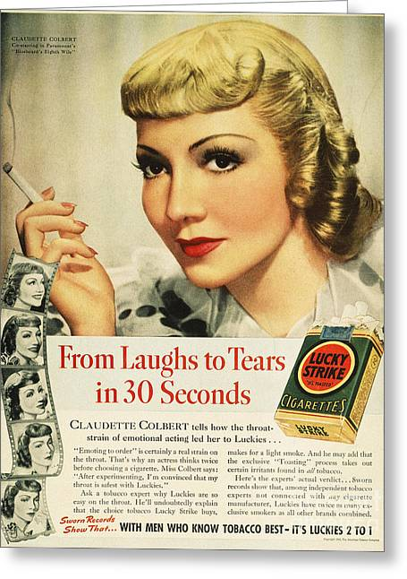 Endorsement Greeting Cards - Luckys Cigarette Ad, 1938 Greeting Card by Granger