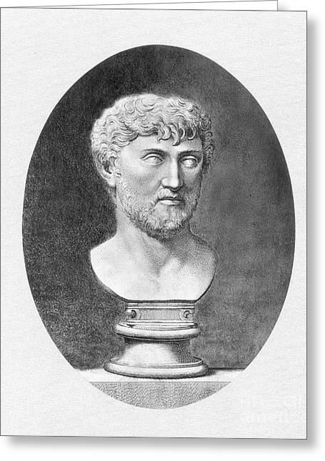 Best Sellers -  - Statue Portrait Greeting Cards - Lucretius (96 B.c.?-55 B.c.) Greeting Card by Granger