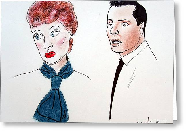 Artist: William Vance Greeting Cards - Lucy and Ricky Greeting Card by Jim Fitzpatrick