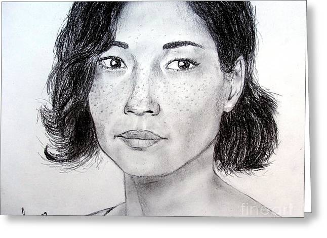 Jim Drawing Drawings Greeting Cards - Lucy Liu Portrait Greeting Card by Jim Fitzpatrick