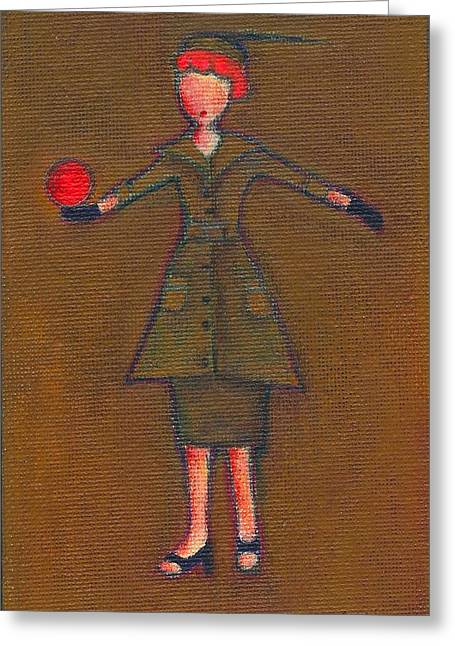 Lucille Greeting Cards - Lucys Burning Red Ball Greeting Card by Ricky Sencion