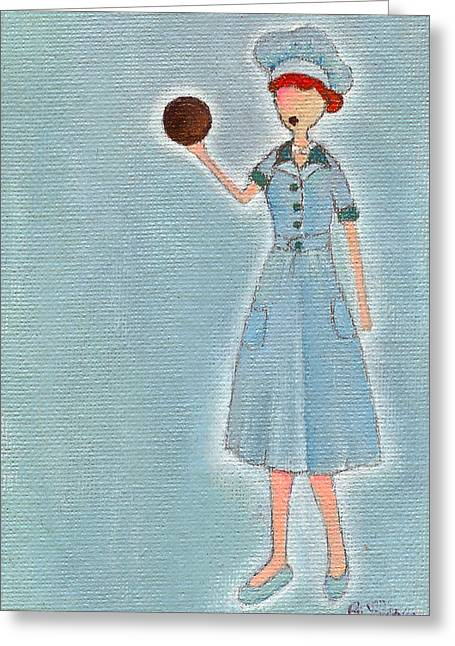 I Love Lucy Greeting Cards - Lucys Chocolate Covered Ball Greeting Card by Ricky Sencion