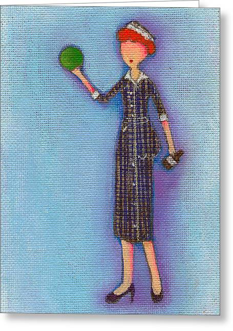 Lucille Greeting Cards - Lucys Drunken Green Ball Greeting Card by Ricky Sencion