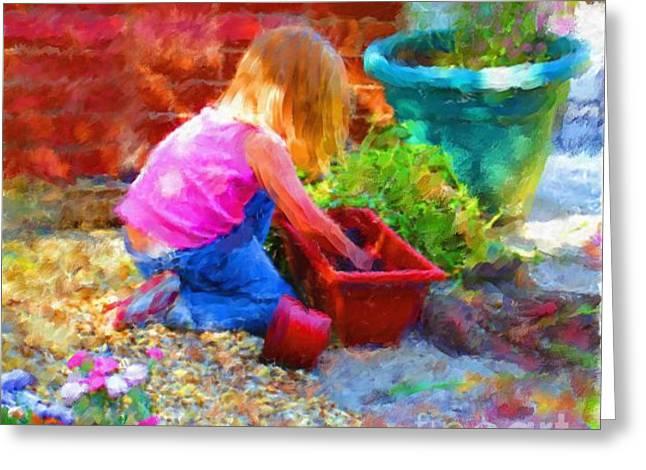 Lucys English Garden Greeting Card by Marilyn Sholin