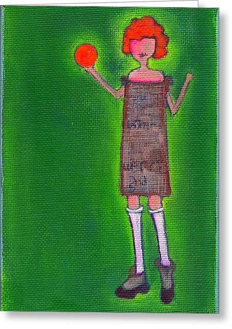 Lucille Greeting Cards - Lucys Fritzy Orange Ball Greeting Card by Ricky Sencion