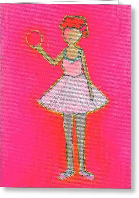 I Love Lucy Greeting Cards - Lucys Hot Pink Ball Greeting Card by Ricky Sencion