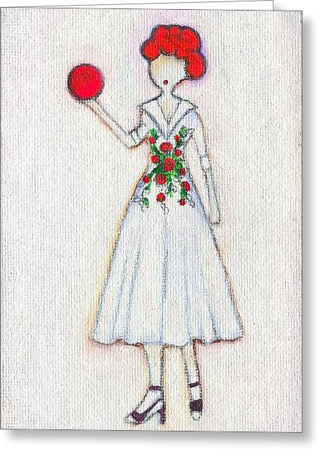 Lucille Greeting Cards - Lucys Rosey Red Ball Greeting Card by Ricky Sencion