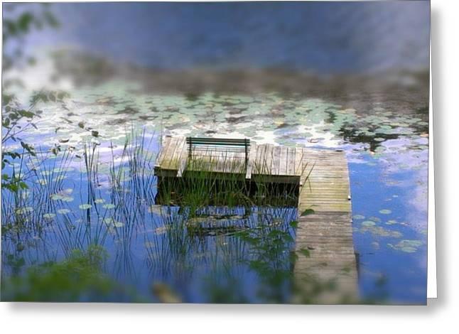 Hamlin Lake Greeting Cards - Ludington MI. dock on Hamlin Lkae Greeting Card by Steven Cull